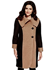 Per Una Wool Blend Two Tone Double Breasted Coat