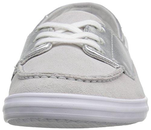 Lacoste Women's Ziane Deck 116 1 Fashion Sneaker, Silver, 7 M US