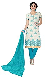 Craftliva White Embroidery Cotton Jacquard Dress Material