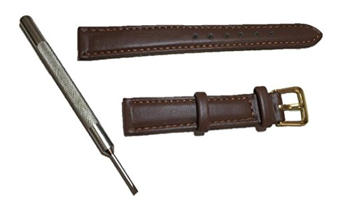 With mounting tool!! Choose from two colors! [Watch replacement leather band: 14 mm (Brown)