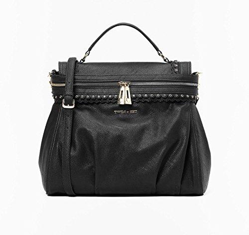 Twin-Set-Handtasche-Cecile-Smerlo-Smoky-aus-schwarzem-Kunstleder