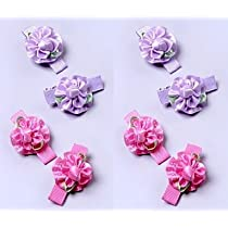Pink and Purple Mini Flower Hair Clips for Babies and Girls Hair Accessories Set of 8