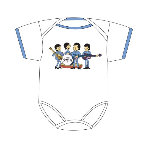 The Beatles Baby's Body Suit / Baby Grow - The Beatles Cartoon Baby Body Suit with Sky Blue Trim (Size 6-12m)