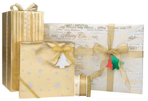Gift Wrap Company Golden Christmas Celebration Gift Wrap, Tags And Ribbon Assortment Kit
