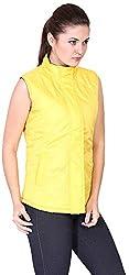 Absurd Women's Reversible Collar Jacket (ABWS14-356-YELLOW-XL, Yellow, XL)