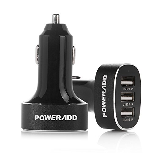 Poweradd™ 5A/25W Portable 3-Port Rapid USB Car Charger for iPhone, iPad, Samsung and More - Black