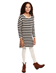 Pure Cotton Tuck Striped Knitted Dress