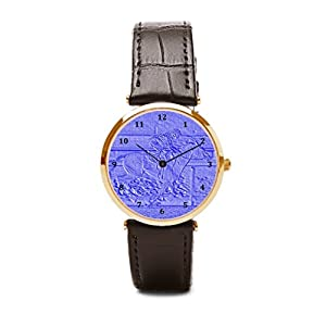 Aromar Watch Leather Strap Horse And Rider Watch Leather Band Pastel Blue