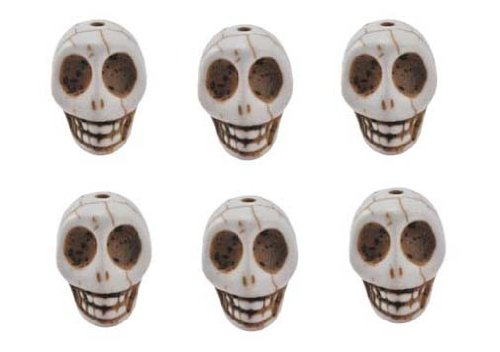 White Magnesite Dyed Gemstone Beads Carved Skull Beads, 20 X 17 X 14 (6 Per Set)