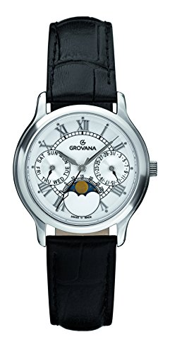 Grovana Unisex Quartz Watch with White Dial Analogue Display and Black Leather Strap 3025.1533