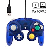 Mekela Classic Wired USB PC Controller Joystick Gamepad resembles Gamecube Game Cube for PC Windows MAC (USB Clear Blue) (Color: USB Clear Blue)