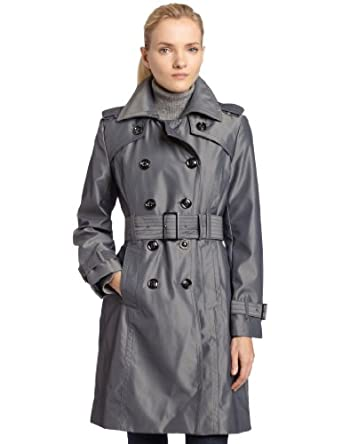 London Fog Womens Petite Irridescent Trench Coat, Steel, Medium