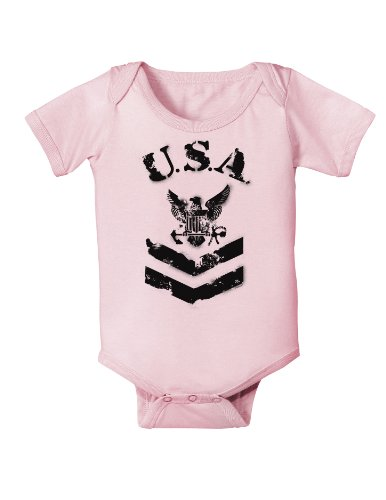 Usa Military Navy Stencil Logo Infant One Piece Bodysuit - Light Pink - 6 Months