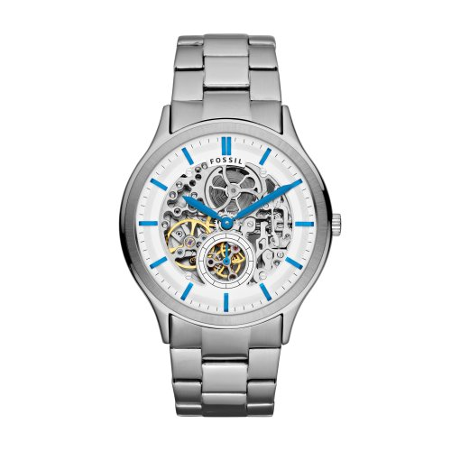 Fossil Men's Ansel ME3021 Silver Stainless-Steel Automatic Watch with Silver Dial