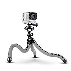Flexible Action Cam Tripod with 360-Degree Articulating Ball Head Bendable Wrapping Legs and Quick-Release Plate by USA Gear - Works with GoPro Hero Sony AZ1 Contour ROAM2 & More Camcorders