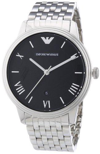 Emporio Armani AR1614 - Reloj con banda de metal para hombre, color negro / plateado