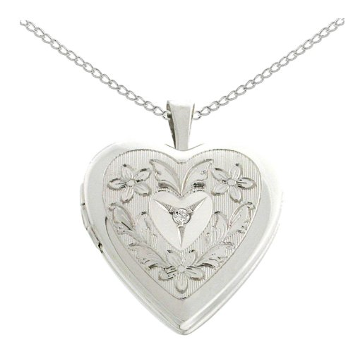 Sterling Silver Diamond Accent Flowers and Leaves Heart Locket Pendant Necklace, 18