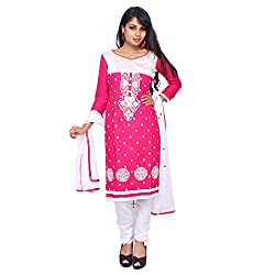 Roohi Pink Cotton Unstitched Embroidered Dress Material-Salwar Suit