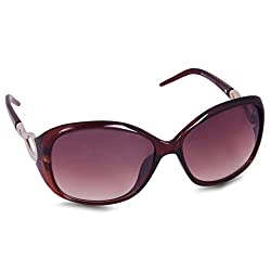 XLNC Stylish Brown Oval Sunglasses for Women with Purple Lens