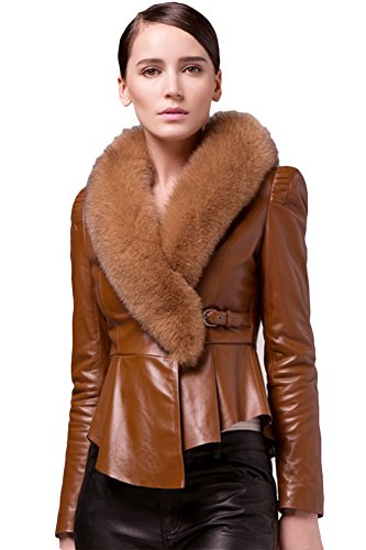 Queenshiny New Style Women's 100% Real Sheep Leather Coat Jacket with Super Fox Collar-Coffee-M(8-10..