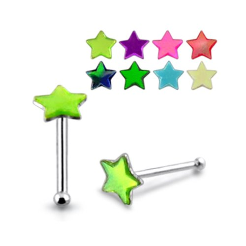 5 Pieces Mix Color 20G-6MM Star Shaped Synthetic Shell 925 Sterling Silver Ball End Nose Pin Piercing Jewelry