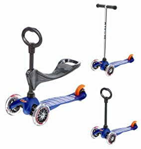 Mini Micro 3-in-1 Blue (Scooter Complete with Ride-on Accessory) by Kickboard USA