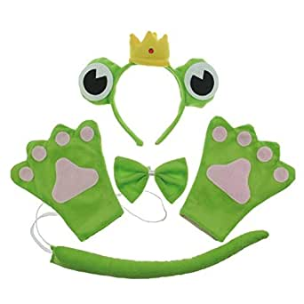 San Tokra Cosplay Party Costume Frog Headband Bowtie Tail Set Halloween Masquerade