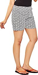 Udankhatola Women's Cotton Shorts (BOXW-PSYC(blk), White, 34)