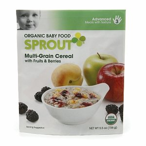 Sprout Sprout Organic Baby Food: 3 Advanced: Meals with Texture, Multi-Grain Cereal with Fruits & Berries 5.5 oz (Quantity of 9)