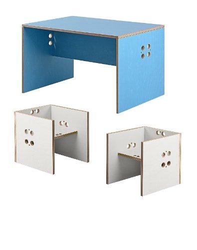 Kindersitzgruppe – Kindermöbel – 2 Kinderstühle/Hocker + 1 Kindertisch/Bank. Tisch hellblau, Farbe Stühle frei wählbar. (Stühle/Hocker weiß, Tisch/Bank hellblau) günstig bestellen