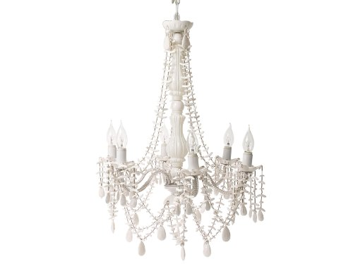 Present Time Gypsy Chandelier 6 Arm White Shells with Plug