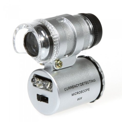 60X Mini Microscope Magnifier Jewelers Loupe For Iphone 4 4S With Led Light