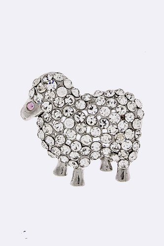 JACOBS & McCARTNEY CRYSTAL LAMB BROOCH