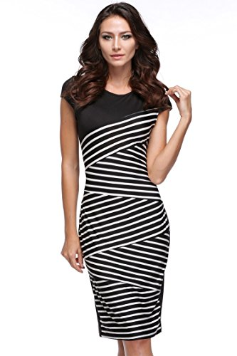 Eshion-Women-Striped-Sleeveless-Wear-to-Work-Office-Pencil-Dress