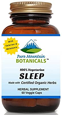 Sleep with Organic Valerian, Chamomile, Passion Flower, Skullcap, Melatonin, Hops & More! - 60 Vegetarian Capsules - 100% Herbal & Non-Habit Forming By Pure Mountain Botanicals