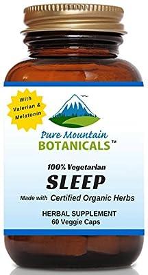 Sleep with Organic Valerian, Chamomile, Passion Flower, Skullcap, Melatonin, Hops & More! - 60 Vegetarian Capsules - 100% Herbal & Non-Habit Forming By Pure Mountain Botanicals