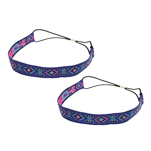 Blue - Rhombus : Kloud City Pack Of 2 Women Boho Handmade Rhombus Headband Hippie Elastic Hairband Hair Accessories...