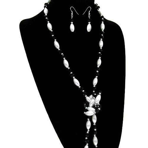 1697 41 Bead White Black Silver Plated Necklace Earring Set