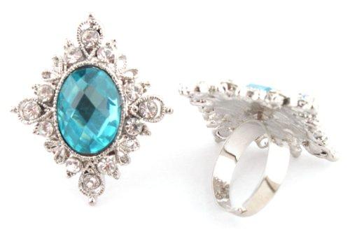 Elegant Ladies Blue Antique Centered Stone with Surrounding Stones Adjustable Ring