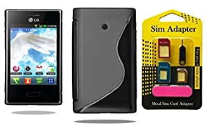 LG Optimus L3 E400, Wellmart Back Case Cover Combo Offer For LG Optimus L3 E400 + Metal Sim Card Adapter (Super Saver)