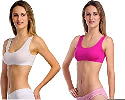 BYC Pink, White Sports Bra (Free Size) (Pack of 2)