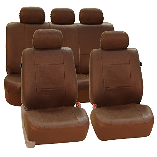 FH GROUP FH-FB082115 Vintage Leather-Like Fabric Auto Seat Cover Full Set Brown-Fit Most Car, Truck, Suv, or Van (Vintage Seat Covers compare prices)