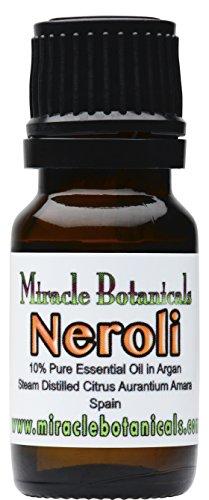 Miracle Botanicals Neroli Essential Oil 10% Dilute *Fine Quality Medicinal Grade Citrus Aurantium Amara* in Golden Argan 10ml
