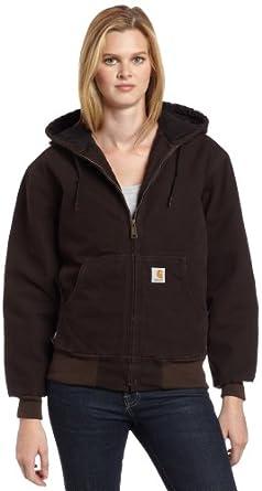 Carhartt Women's Sandstone Duck Quilt Flannel Lined Active Jacket, Dark Brown, Small