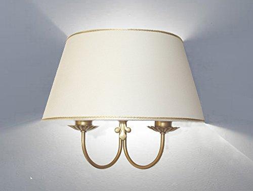 Idea casa: Lampada da parete - Applique a due luci a muro in metallo decorato - Paralume ventola cono ovale - Produzione propria (Made in Italy); vari decori disponibili