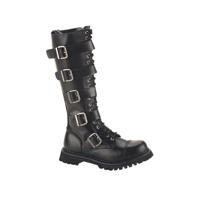 MENS Black Leather Knee High Boot 20 Eyelet 5 Strap Gothic Punk Boot Steel Toe