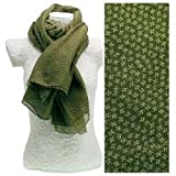Sage Green Square Tiny Flowers Scarf