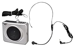 PYLE-PRO PWMA60US 50 Watts Portable USB Waist-Band PA System with Headset Microphone, Rechargeable Batteries (Color Silver)