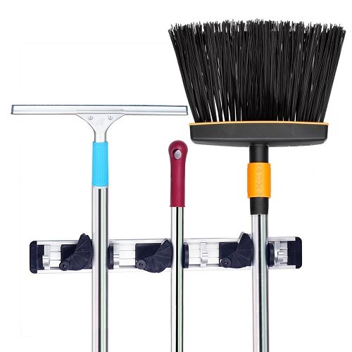 SUNUNICO Mop and Broom Holder Home Organizer Wall-Mounted Tool Rack Organizer Aluminum with Self Adhesive Hook, 3 Position 4 Hooks Perfect for Garage Kitchen Basement Laundry Room (black) (Broom Holder Small compare prices)