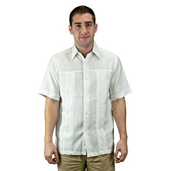 Embroidered linen beach wedding shirt, men, white.